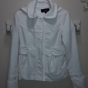 BB Dakota White Pea Coat With Hoodie